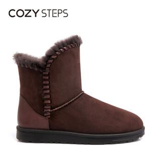 COZY STEPS澳洲羊皮毛一体平底编织保暖雪地靴女5D881 巧克力色 39