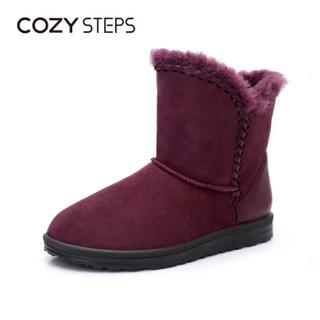 COZY STEPS澳洲羊皮毛一体平底编织保暖雪地靴女5D881 葡萄紫色 39