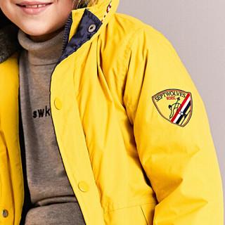 七匹狼童装男童棉服新款冬季中大童儿童中长款保暖加厚棉衣DSJD70701074 浅黄 110cm