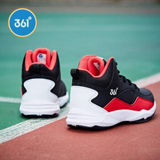 361° 361度童鞋 男童篮球鞋训练鞋舒适保暖儿童运动鞋青少年学生鞋子 N71841103 碳黑/大学红 39