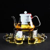 领艺 泡茶壶 玻璃 陶瓷内胆茶水壶煮茶器电陶炉 冷濛蒸茶壶配6杯+若雪银电陶炉