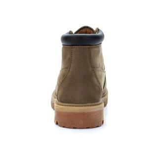 骆驼牌 马丁靴男头层牛皮休闲高帮保暖工装系带 W842329824 卡其 42/260码