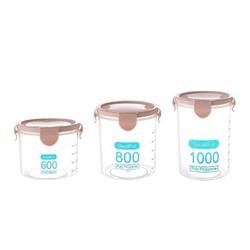 千尘 食品密封储存罐 600ML+800ML+1000ML