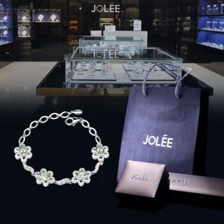羽兰JOLEE 手链 天然绿水晶S925银花朵手镯彩色宝石简约韩版首饰品送女生礼物