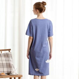 红豆居家女士睡衣春夏纯棉云朵印花短袖睡裙070 蓝色 165/88A