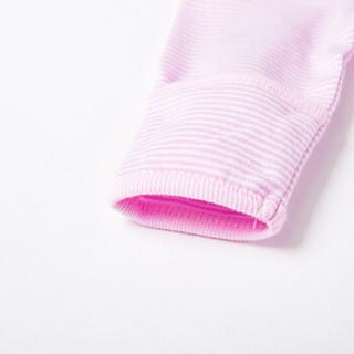 贝贝怡春秋季条纹纯棉连体衣婴儿衣服新生儿前开扣爬服 淡粉 新生儿/身高52cm