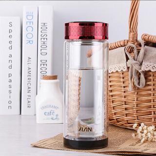 富光大容量双层玻璃杯带盖男女士学生创意水杯便携泡茶杯随手杯子 酒红(WFB1007-280)