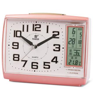 霸王(POWER)闹钟 静音贪睡夜灯多功能方形环保指针儿童学生小台钟床头钟 PW3002CKS粉色B款