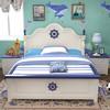 诚信 儿童床地中海男孩单人床1.5米青年床少年床女孩公主床1.2简约床 190*150*40王子蓝单人床+床垫+床头柜*2