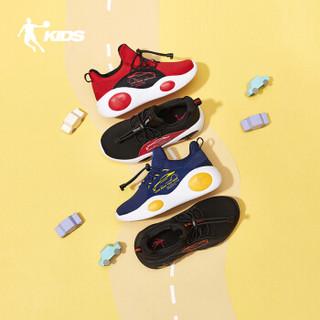 乔丹(QIAODAN)童鞋男童鞋婴小童跑步鞋革面软底儿童运动鞋 QM9470203极光红/黑色27