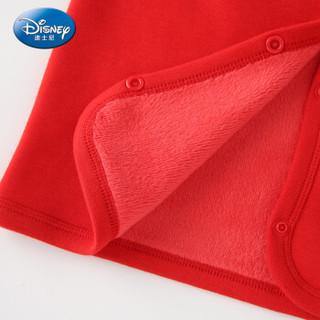 迪士尼 Disney 童装女童中小童保暖加厚马甲黄金绒宝宝衣服上衣2019冬 DA942FE02 大红 140
