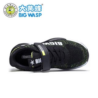 大黄蜂男童鞋子网面透气 儿童运动鞋 大码男孩休闲跑鞋6-16岁 119319380 黑绿 40