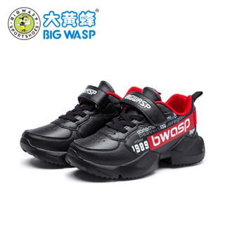 大黄蜂男童鞋 儿童运动鞋 秋季新款中大童韩版波鞋男孩休闲鞋 109318061 黑红 31