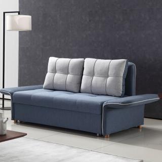 金海马(kinhom) 沙发床两用 小户型多功能折叠伸缩 布艺沙发单人双人可拆洗懒人沙发 1.4米 311-01雾霾蓝