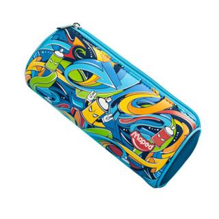 马培德 Maped 印象彩绘笔袋 蓝色 文具袋 大容量 桶状 文具收纳袋 铅笔盒 中小学生文具盒 934850CH