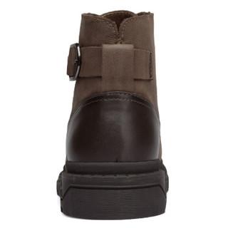 强人男靴际华3515低帮马丁靴户外磨砂头层牛皮透气耐磨工装靴子 JD75028 暗棕 39码