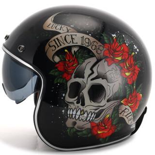 MT HELMETS 电动摩托车头盔男女冬季保暖哈雷复古四季半盔机车个性安全帽轻便 黑金玫瑰骷髅 XL码