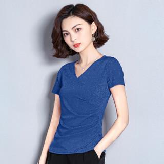 仙丫 2019夏季新款女装新品V领雪纺衫女小衫时尚气质百搭紧身显瘦很仙的上衣 zx3E250-9931DD 蓝色 S
