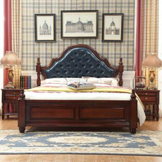 摩高空间 美式床 实木床轻奢床双人床婚床1.8米主卧室床+2个床头柜