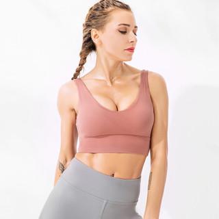 维迩旎 2019夏季新款女装新品瑜伽运动文胸带胸垫无钢圈健身内衣背心 HCHQWX202 绣红 M