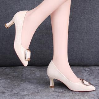 古奇天伦(GUCIHEAVEN)女士 休闲百搭职业正装高跟皮鞋 8566-1 米色(跟高5.5CM) 40
