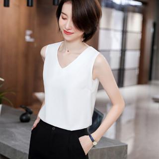 特洛曼女装无袖白色背心打底外穿气质显瘦小西装内搭上衣百搭 白V领背心8930M