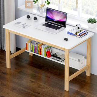朗程电脑桌台式笔记本家用办公桌子学习桌单板桌子 暖白+松木框架120CM