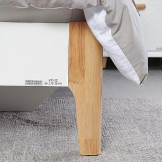 掌上明珠家居 北欧烤漆卧室 1.5米双人床+床头柜×2 组合家具套装 ESA117-A152