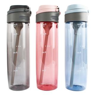 乐扣乐扣 一键式吸管水杯 大容量便携防漏运动水壶 带刻度学生塑料水杯子ABF765BLU蓝色750ml