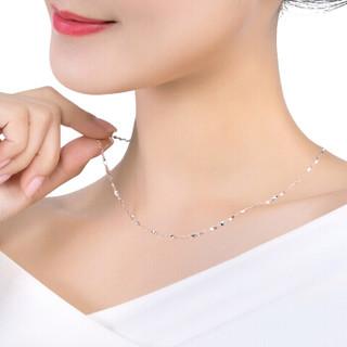 六福珠宝 Pt950百搭款扭片链铂金项链女款素链 计价 A03TBPN0003 约4.09克-40cm