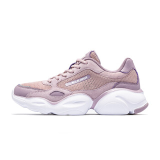 乔丹 女鞋网面鞋透气休闲鞋潮流跑步鞋复古老爹鞋 XM3690316 丁香粉/微粒紫 36