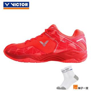 VICTOR威克多 胜利羽毛球鞋男女款透气防滑跑步运动鞋 A362OD风火橘/酱红 42码=270MM