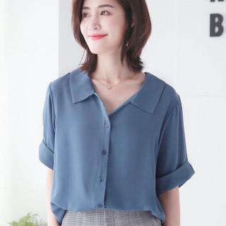 尚格帛 2019夏季新款女装雪纺短袖衬衫韩版宽松显瘦休闲白衬衣娃娃领上衣 yzALsh-3 黛蓝色 XL