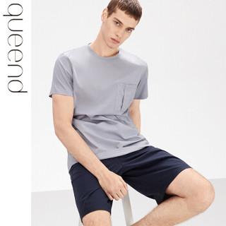 淳度男士睡衣夏季纯棉薄款可外穿家居服短袖短裤套装 鸽羽灰/藏蓝色 XXL