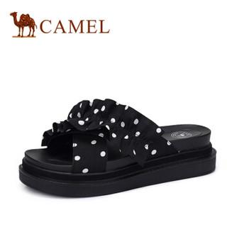 骆驼(CAMEL) 女士 娇俏淑女波点布面厚底平底拖鞋 A92561624 黑色 38