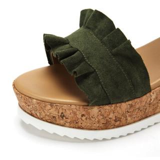 达芙妮(DAPHNE)一字带松糕跟荷叶边休闲凉鞋女 绿色36