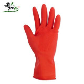 大杨166快乐娃乳胶手套 牛筋橡胶防水洗碗厨房家用 加厚高弹贴手 厚款皮肤型胶手套 红米10双 L 定制