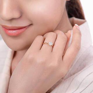 喜钻 星缘钻戒女 18K金钻石女戒 显钻款钻石戒指女送女友送老婆生日礼物