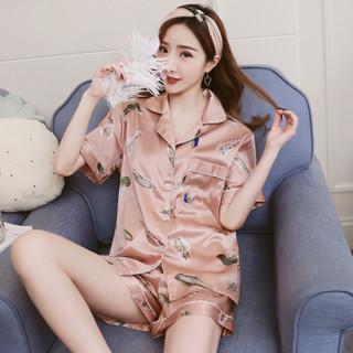 Markentsee 2019夏装新品雪纺衫女装睡衣长袖薄款性感冰丝两件套家居服 REBmsm-959171 女短袖藏青条纹 L