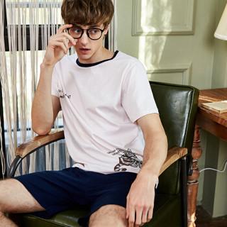 海之宁 睡衣男纯棉薄款夏季简约时尚 男士全棉宽松短袖短裤家居服套装夏天两件套H91XMJT030 粉色 XL