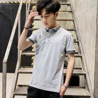 富铤 (FORTEI) POLO衫男2019夏季新款休闲纯色t恤时尚修身透气男装9038 灰色 2XL