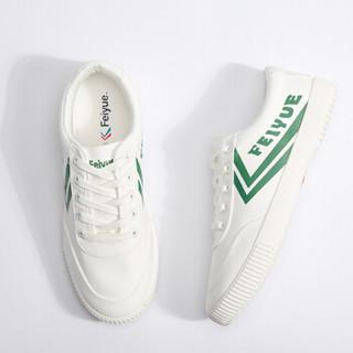 飞跃(Feiyue)帆布改良版国货男女情侣小白潮流运动板鞋 8108 白绿 35