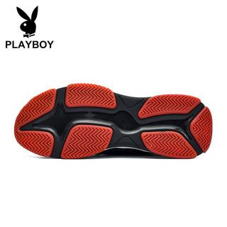 花花公子(PLAYBOY)飞织运动跑步休闲鞋男士低帮防滑 DS85194 黑/灰 42