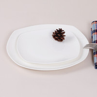 SKYTOP斯凯绨 陶瓷创意西餐盘骨瓷牛排盘纯白8英寸+10英寸方形