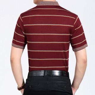 恒源祥男士POLO衫中年男士短袖T恤爸爸装男装翻领中老年宽松大码上衣 酒红 170/L