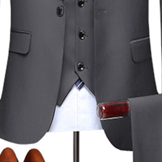 鳄鱼恤 CROCODILE 西服套装男 2019年秋冬季新款商务休闲一粒扣三件套翻盖外套西装3005-688佳 灰色 L
