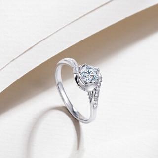 钻石小鸟 Zbird 18K金钻石戒指 18分求婚结婚女款 丝缠RDL43 12号