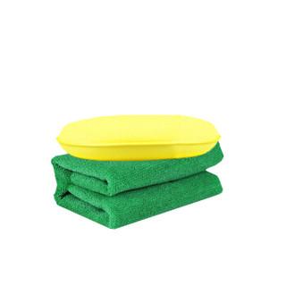 龟牌(Turtle Wax)硬壳表板蜡仪表盘蜡大力橙海绵块毛巾套装