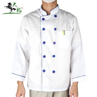 大杨107顺盈秋冬季厨师服长袖上衣男女 西餐厅食堂饭店酒店后厨立领双排扣厨房工装 白色蓝边 L码 定制