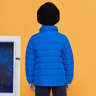 安奈儿童装男女童2019冬季新款中性款短款羽绒服新宝蓝170